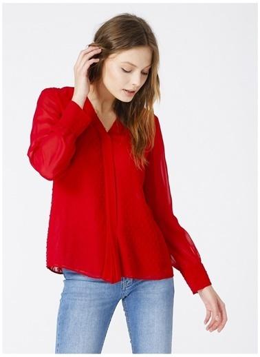 Selen Selen Kadın V Yaka Uzun Kollu Kırmızı Bluz Kırmızı